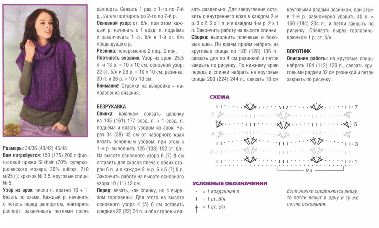 Вязание спицами безрукавки схема с описанием