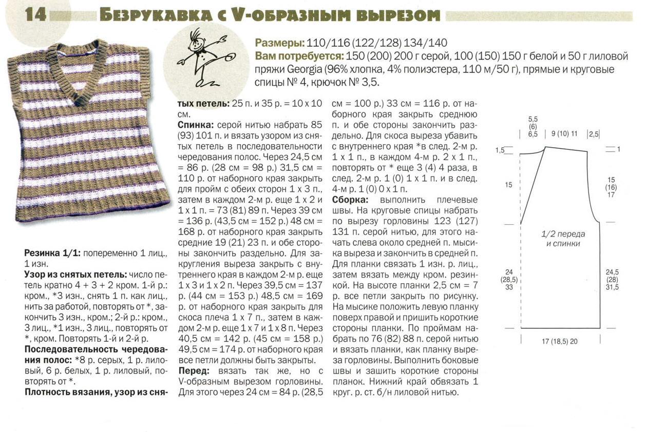 Вязание горловины на детской жилетки Детская жилетка вязанная спицами / Хенд мейд