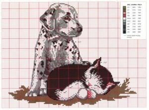 собака и кошка схема вышивки